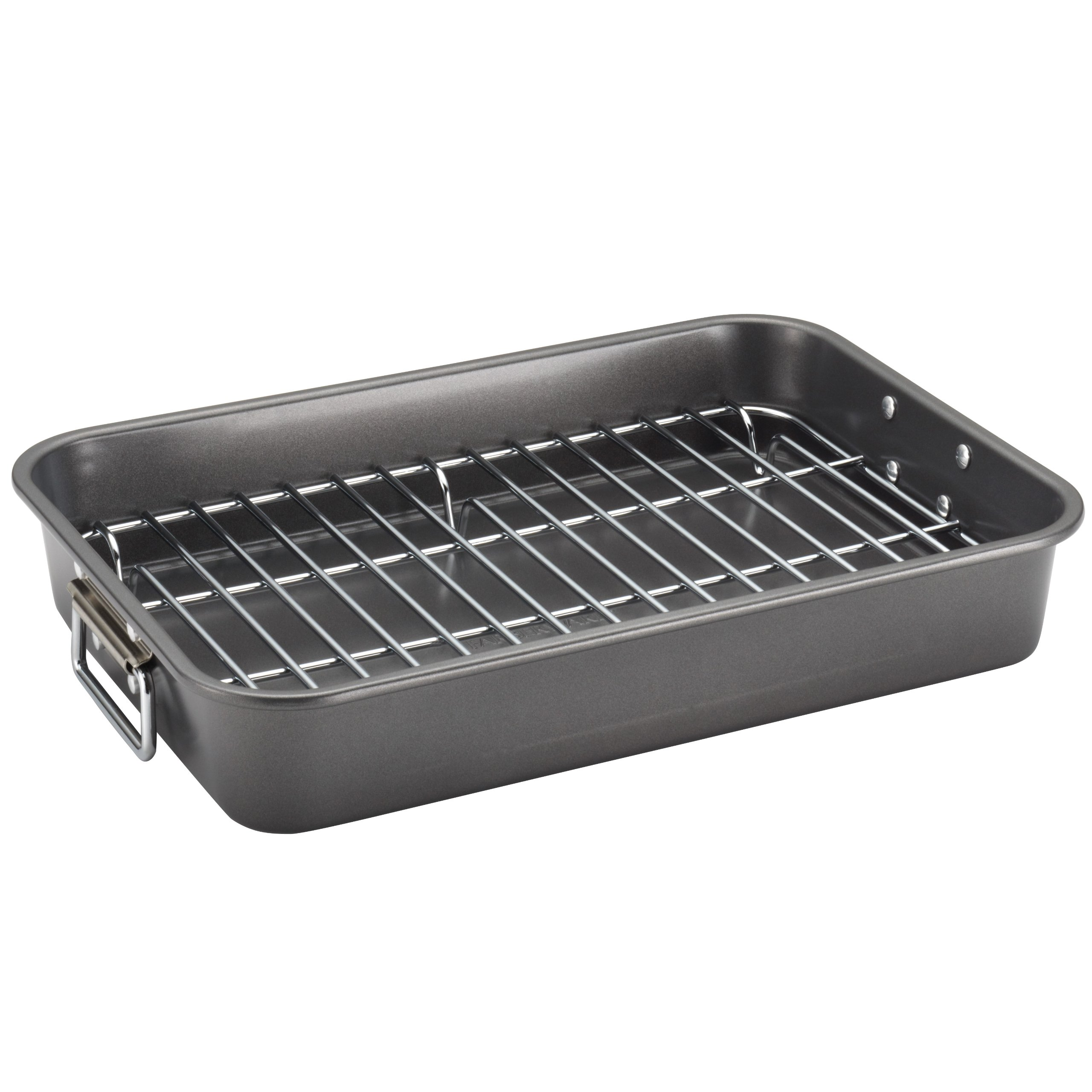 Farberware Nonstick Bakeware 11-Inch x 15-Inch Roaster with Flat Rack, Gray by Farberware