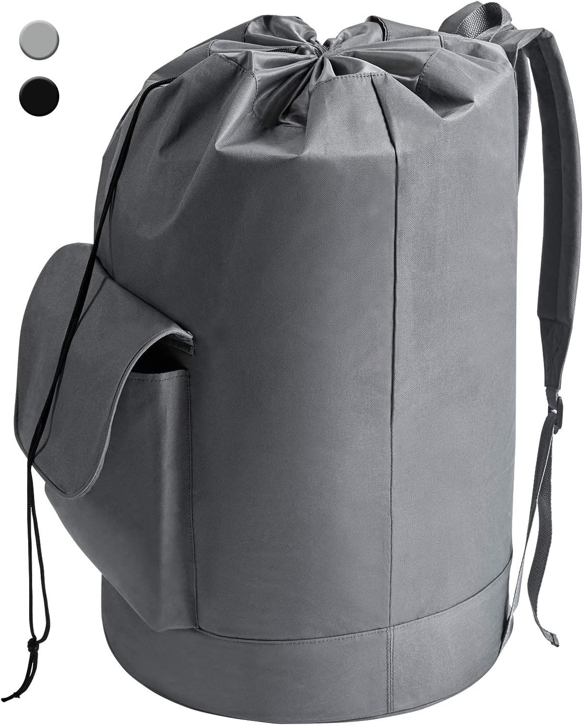 YOUDENOVA Laundry Bag Backpack Waterproof Freestanding Durable Oxford Backpack Grey Hamper with Padded Adjustable Shoulder Straps for College Dorm, Bedroom, Bathroom, Laundromat (16x30 Inch 94L)