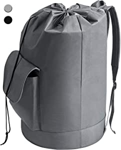 YOUDENOVA Laundry Bag Backpack Waterproof Freestanding Durable Oxford Backpack Grey Hamper with Padded Adjustable Shoulder Straps for College Dorm, Bedroom, Bathroom, Laundromat (16x30 Inch 94L)