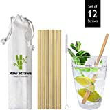 Reusable Bamboo Drinking Straws   Biodegradable Straws   Eco Friendly Straws   Durable & Sustainable   Dishwasher Safe   Cocktail Straws   12 Straws   Cleaning Brush & Pouch Included   By Raw Straws