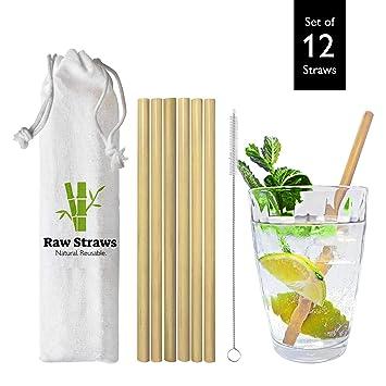 12 Pailles En Bambou Reutilisables 100 Naturel Et Biodegradable Ecologique Durable Sans Lave Vaisselle Sans Bpa Brosse De Nettoyage Et