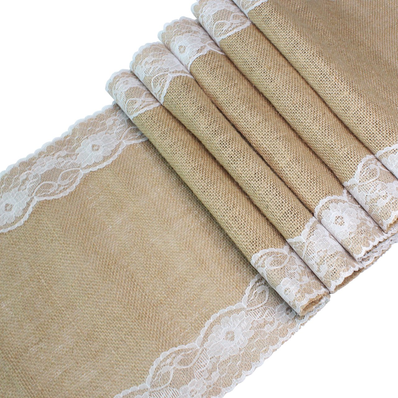 Table Runner Burlap with Vintage Lace Hessian Jute Table Runners for Country Outdoor Rustic Wedding Party Decoration, 12 x 108 Inch Volare-HK