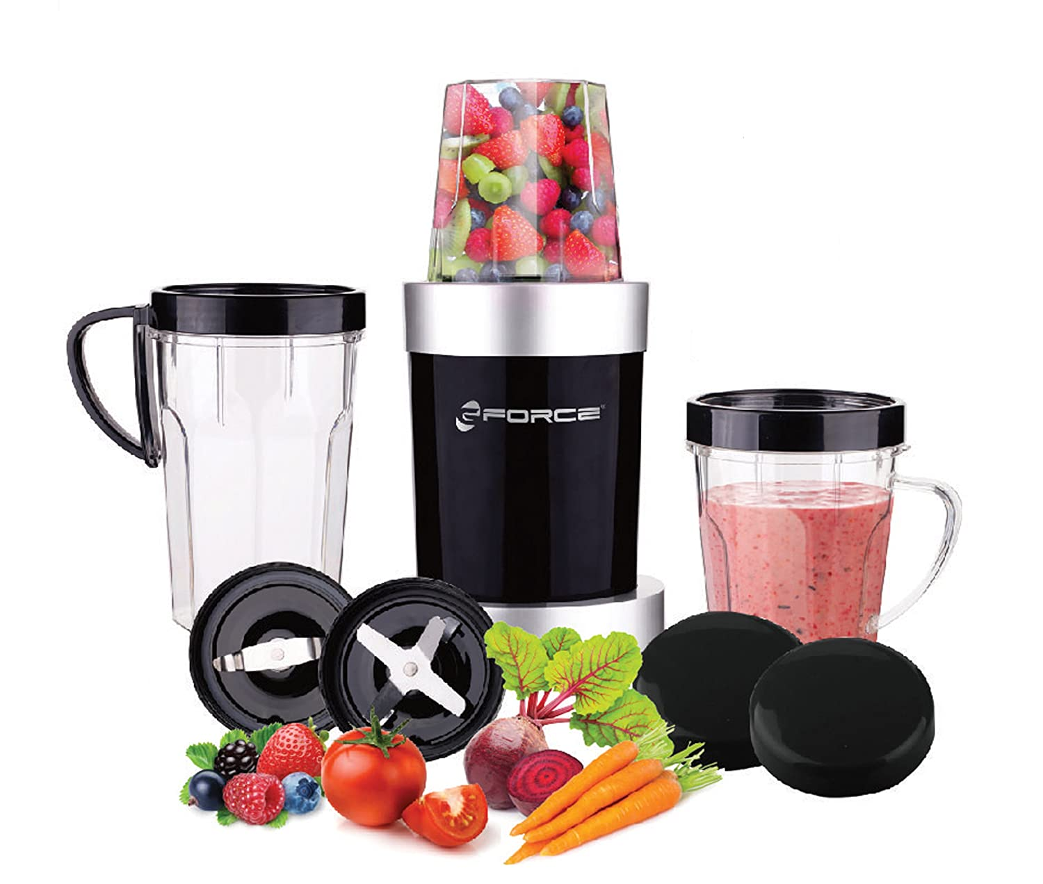 GForce Multi-Function 600W Power Mini Blender, 10 Piece Set With Travel Lids and Cups