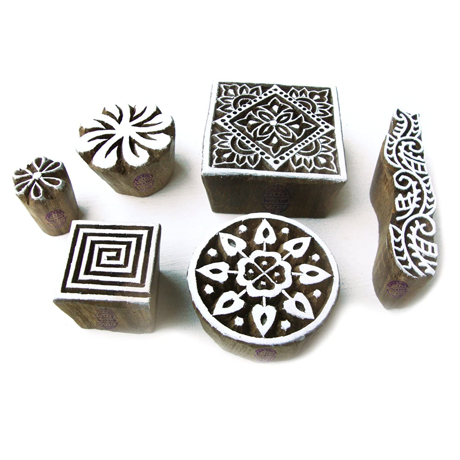 Handmade Square and Round Designs Wood Blocks for Printing (Set of 6)