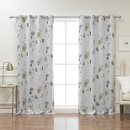 Best Home Fashion Closeout Room Darkening Flower Printed Curtains – Antique Bronze Grommet Top – Blue – 52 W x 84 L – Set of 2 Panels
