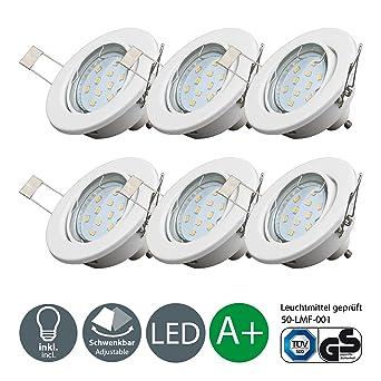 B K Licht lot de 6 spots LED encastrables orientables ampoules LED