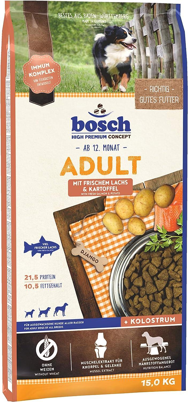 bosch HPC Adult | con Salmón fresco y Patata | Comida seca para perros adultos de todas las razas | 15 kg