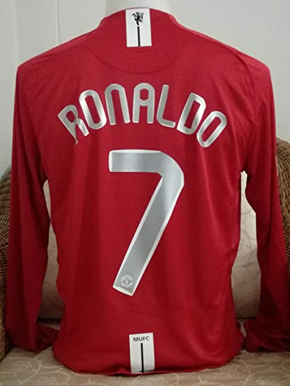 299e6c0f9 Ronaldo 7 Manchester United Longsleeve Soccer Jersey Final MOSCO UCL. Patch  (RED