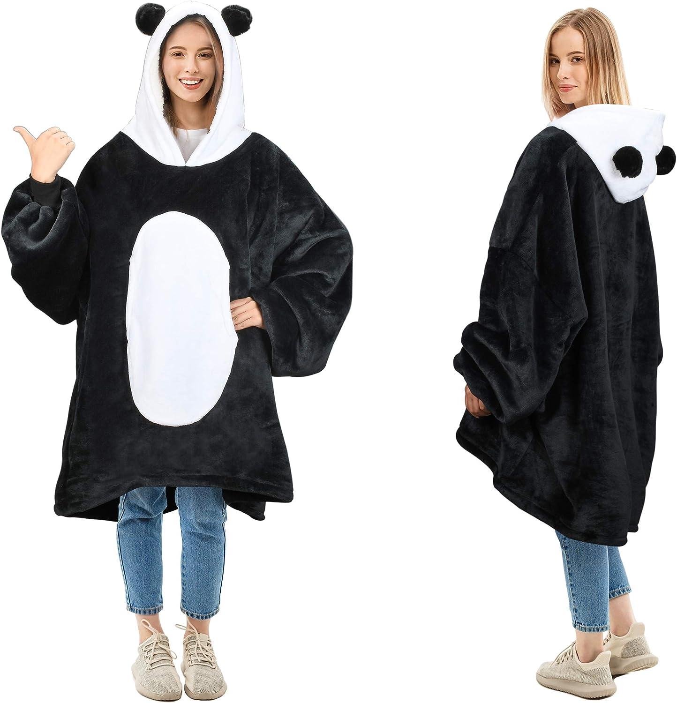 Oversized Blanket Sweatshirt, Super Soft Warm Cozy Wearable Sherpa Hoodie for Adults & Children, Reversible, Hood & Large Pocket, One Size, Multiple Colors