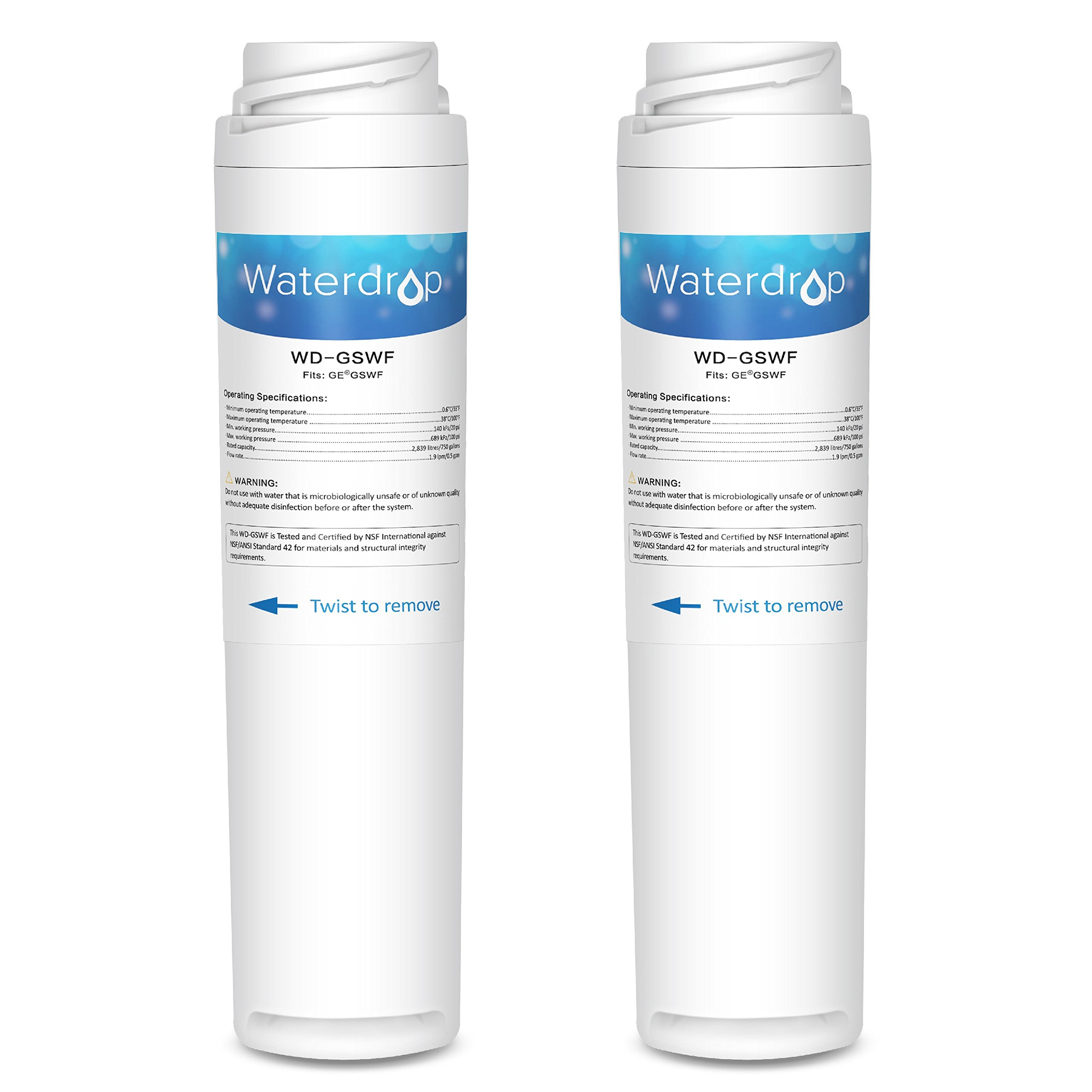 Waterdrop GSWF Replacement Refrigerator Water Filter, Compatible with GE GSWF, Kenmore 46-9914, 469914, 9914, Standard Series, 2 Pack