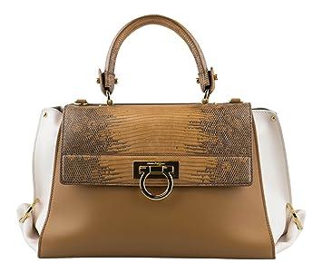 Amazon.com   SALVATORE FERRAGAMO Caramel Sienna Sofia Handbag With Lizard  Flap   Baby e49c388a97711