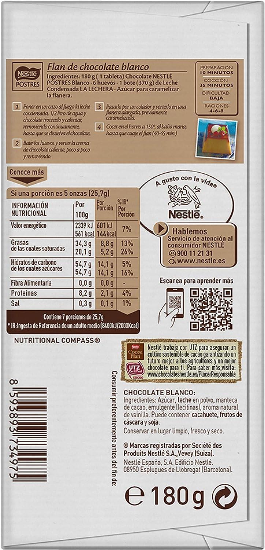 NESTLÉ POSTRES Chocolate Blanco para fundir - Tableta de chocolate para repostería 180g: Amazon.es: Alimentación y bebidas