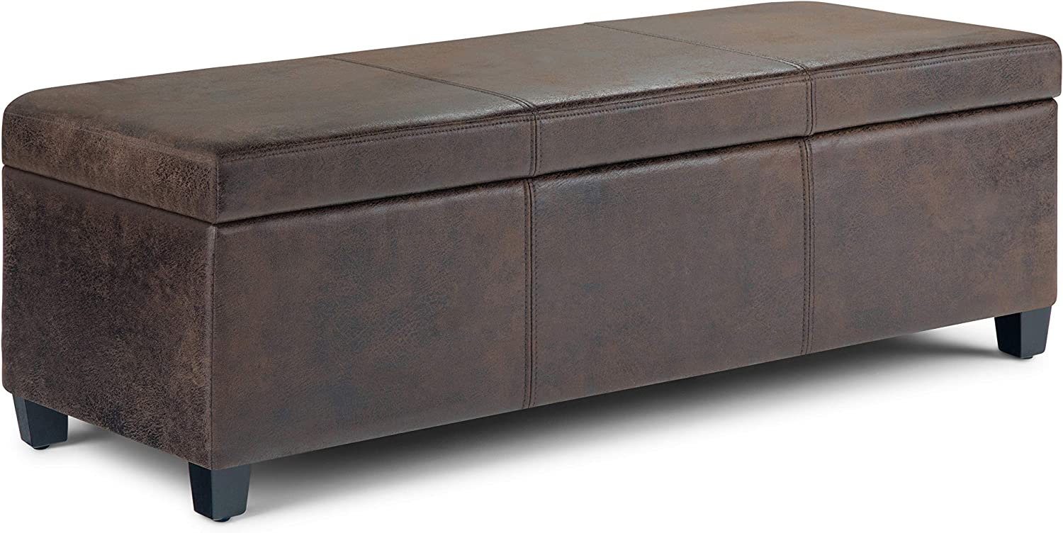 SIMPLIHOME Avalon 48 inch Wide Rectangle Lift Top Storage Ottoman Bench in Upholstered Distressed Brown Faux Air Leather with Large Storage Space for the Living Room, Entryway, Bedroom, Contemporary