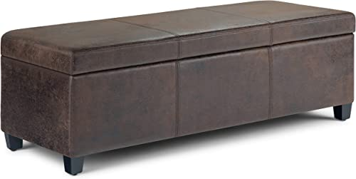 SIMPLIHOME Avalon 48 inch Wide Rectangle Lift Top Storage Ottoman Bench