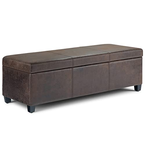 Simpli Home AXCF18-DBR Avalon 48 inch Wide Contemporary Rectangle Storage Ottoman Bench in Distressed Brown Faux Air Leather