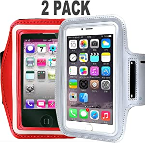 2Pack CaseHQ Armband Sport Running Exercise Gym Sportband Case Compatible Phone iPhone 11 PRO MAX, 8 Plus/iPhone 7 Plus/iPhone 6 Plus/6s Plus, with Key Holder & Card Slot, Water Resistant