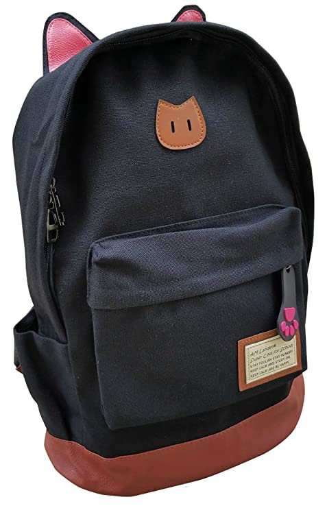 4eaecdd7ad0 Amazon.com   AM Landen CAT Ears Backpack Kid Backpack Travel DayBag(small-Black  with Laptop Sleeve)   Kids  Backpacks