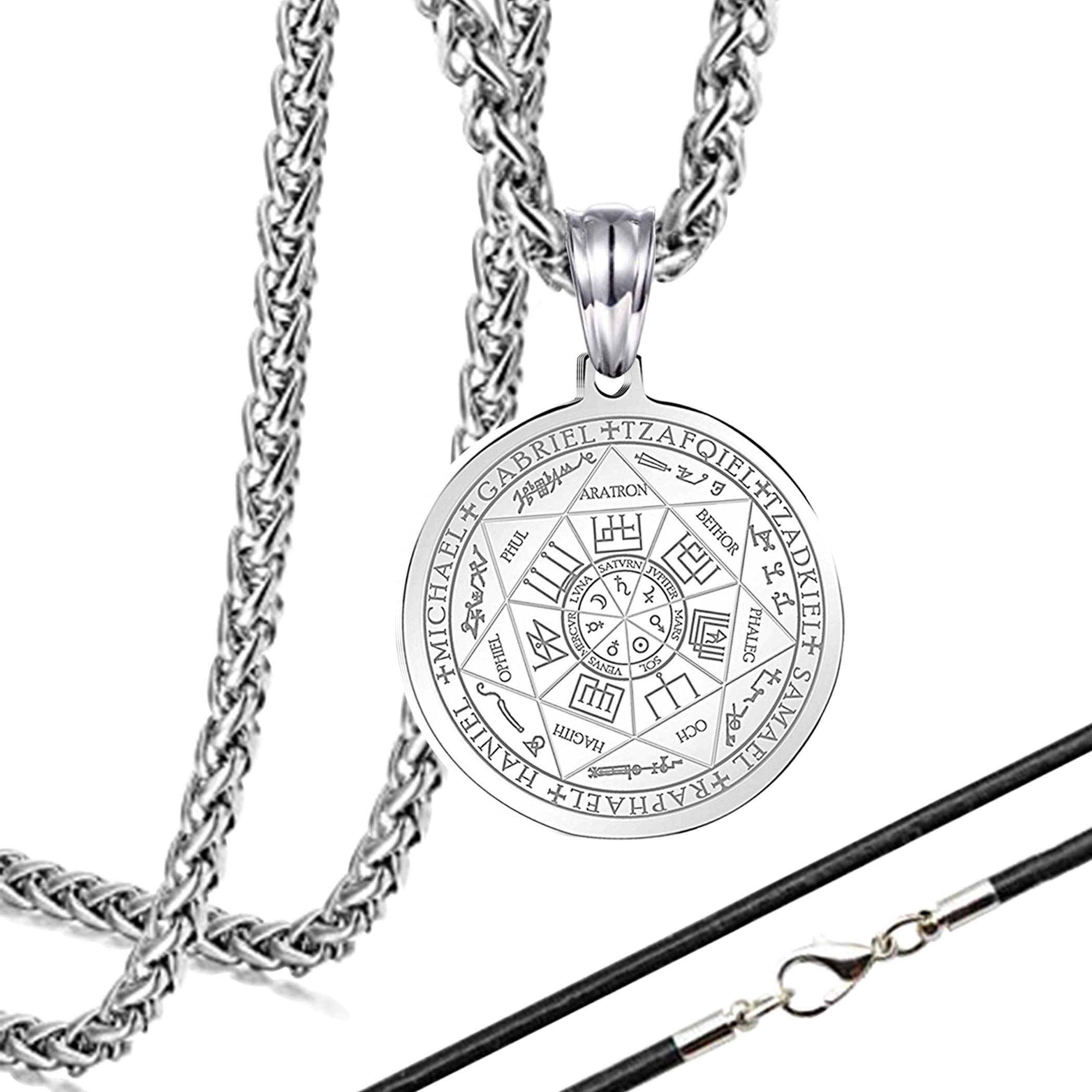 ZONICTA Jewelry Stainless Steel The Seal of The Seven Archangels Pendant Necklaces with Gift Box