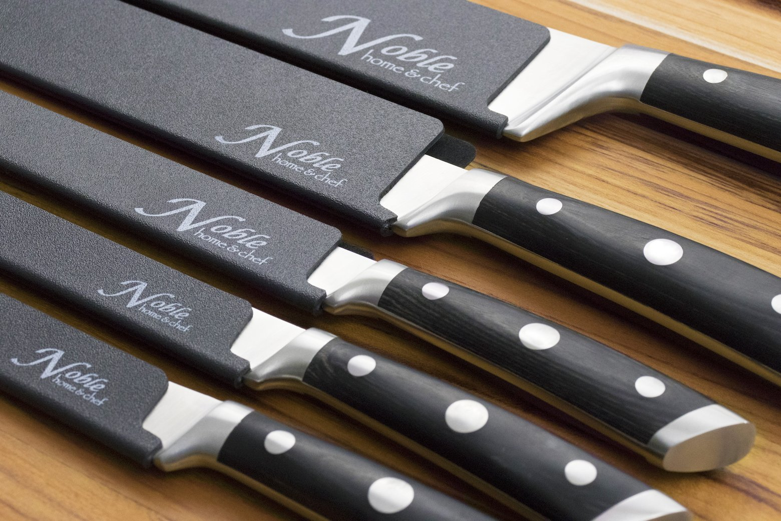 5-Piece Universal Knife Edge Guards are More Durable, BPA-Free, Gentle on Your Blades, and Long-Lasting. Noble Home & Chef Knife Covers Are Non-Toxic and Abrasion Resistant! (Knives Not Included) by Noble Home & Chef (Image #4)