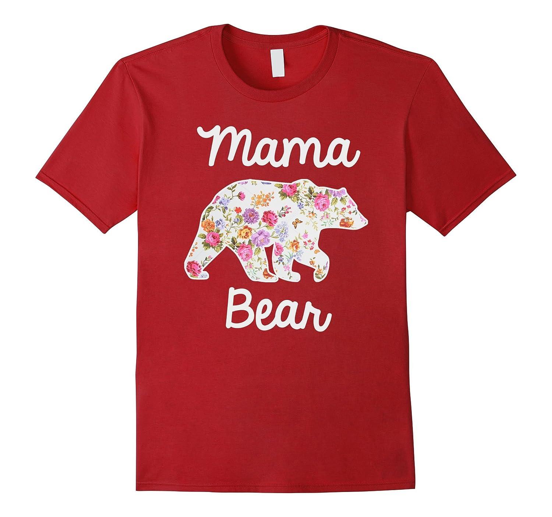Mama Bear Floral Graphic Tee Mom Shirt-CD