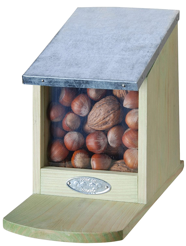 Eichhörnchen Futterhaus, Futterstation, Eichhörnchenhaus, klappbarer Metalldeckel, ohne Nüsse, ca. 12 cm x 17,5 cm x 22,5 cm Eichhörnchen Futterhaus Eichhörnchenhaus ohne Nüsse Esschert Design