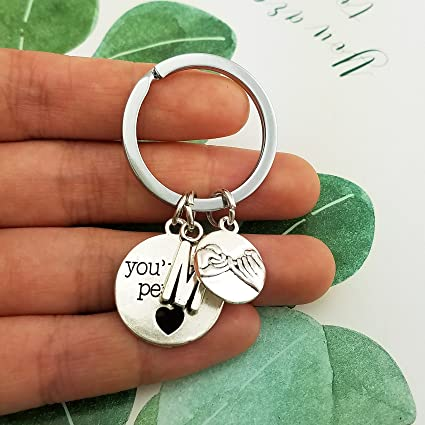 SELOVO Letter Initial Promise Charm Key Ring Friend Couple Pinky Promise Swear Keychain