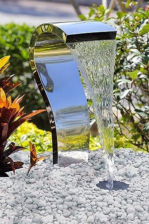 Köhko® Wasserfall Schwan Aus Edelstahl 23005 Wasserspiel Mit LED Beleuchtung