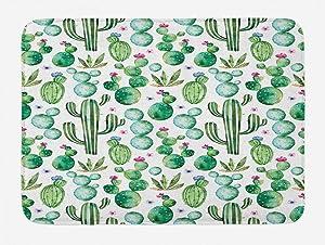 Ambesonne Green Bath Mat, Mexican Texas Cactus Plants Spikes Cartoon Like Print, Plush Bathroom Decor Mat with Non Slip Backing, 29.5
