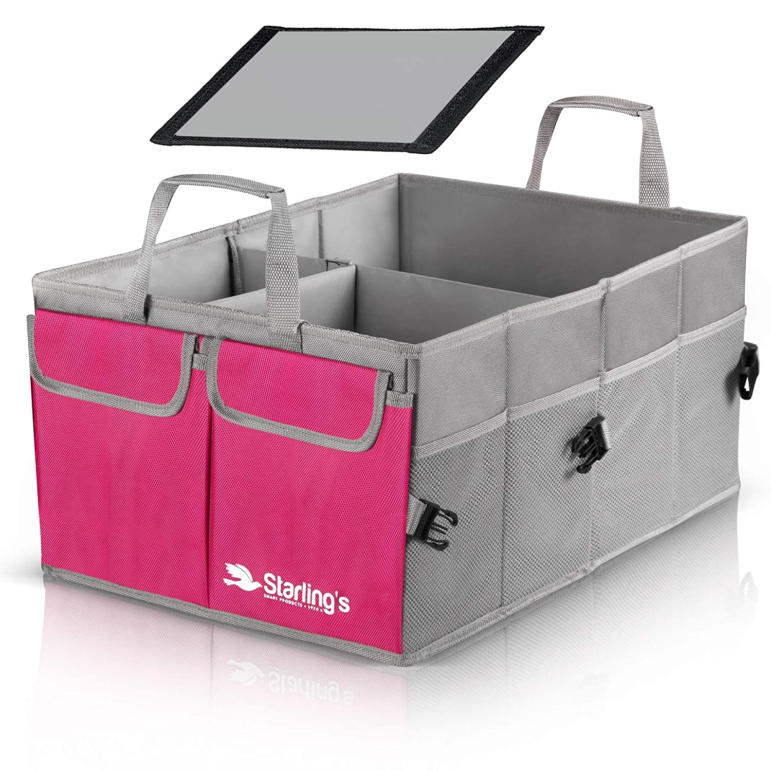 Car Trunk Organizer by Starling' s-Pink: Super Strong, Foldable Storage Box for Auto, Truck, SUV - Nonslip/Waterproof 3 Layers Bottom W/Design Box Starling' s