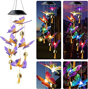 Qblahip String Lights Wind Chimes Mothers Day Ornaments Birthday Gifts for mom Gardening Gifts Grandma Gifts Mother Gifts Garden Decor Yard Decor Solar Hanging Lights Outdoor Mother's Day
