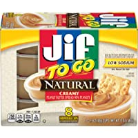 Jif To Go Natural Creamy Peanut Butter, 8-1.5 Ounce Cups, 7g (7% DV) of Protein per Serving, Smooth and Creamy Texture, Snack Size Packs