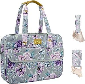 Super Slim & Expandable 14-15 Inch Laptop Tote bag, Anti Theft Shoulder Bag Water-Repellent Laptops Briefcase Case Teacher Bag Gifts for Women, (3.7L-10.3L), Purple Flower