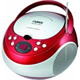 (Red) - NAXA Electronics NPB-251RD Portable CD Player with AM/FM Stereo Radio