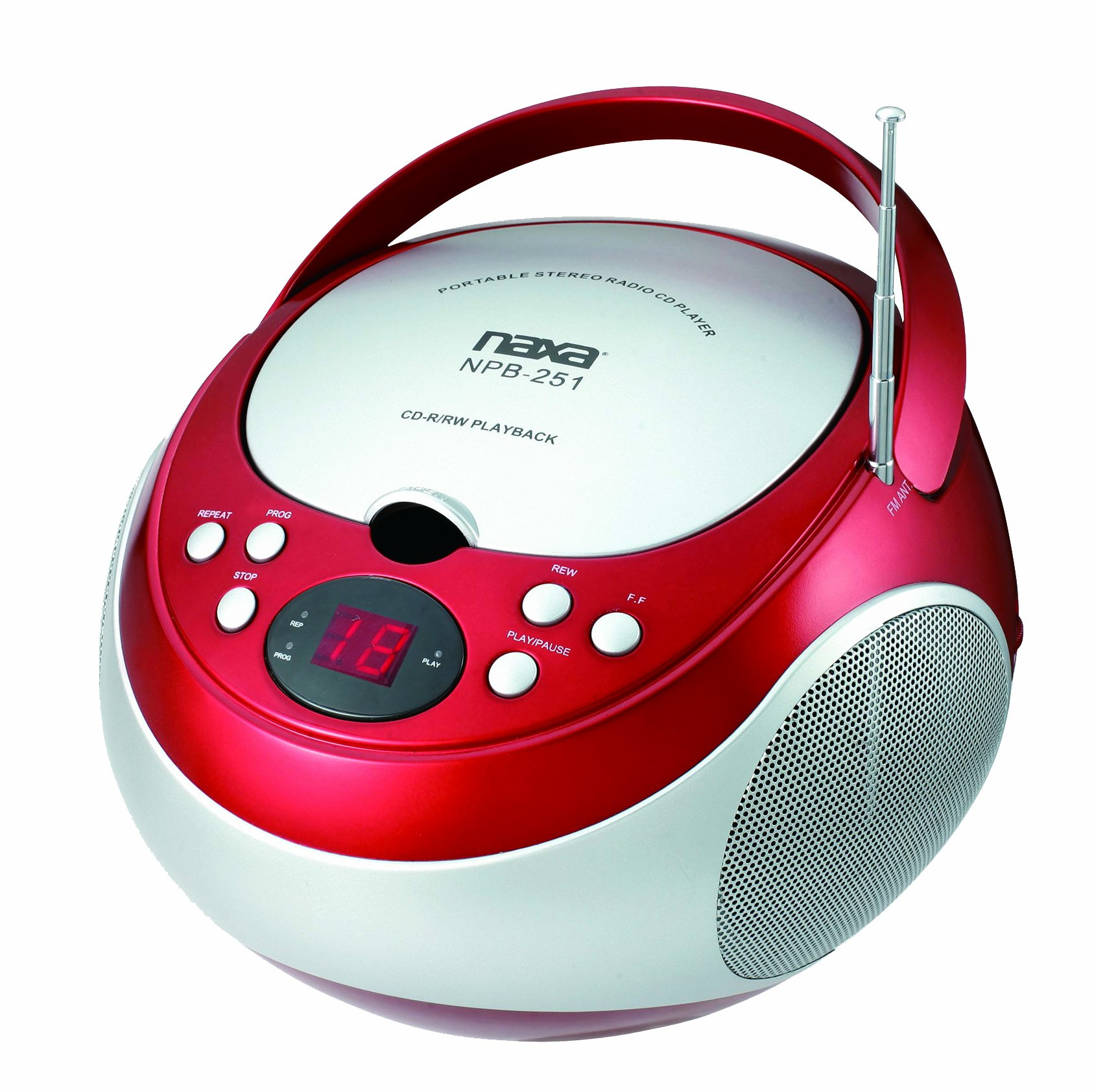 NAXA Electronics NPB-251RD Portable CD Player with AM/FM Stereo Radio