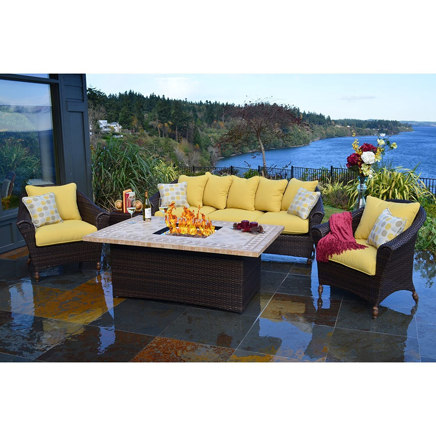Wonderful Outdoor Innovations Bellamar 6 Piece All Weather Wicker Patio Furniture Set