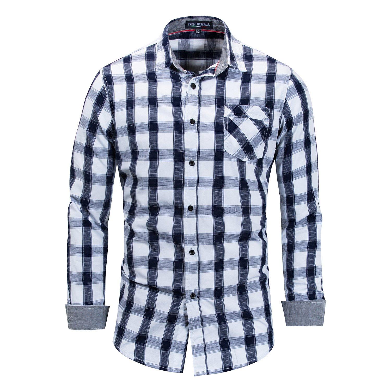 IYFBXl New Large Size Mens Cotton Long Sleeve Shirt Plaid Shirt FM158