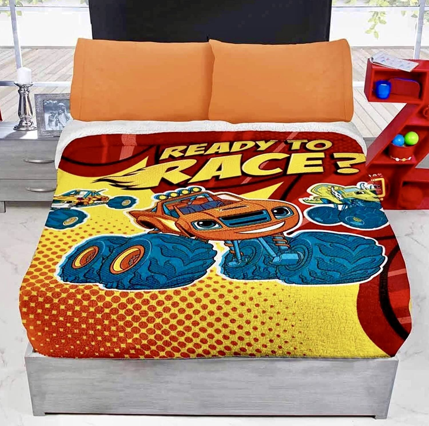 JORGE'S HOME FASHION INC BLAZE MONSTER MACHINES KIDS BOYS ORIGINAL LICENSE BLANKET WITH SHERPA VERY SOFTY THICK WARM AND SHEET SET 4 PCS TWIN SIZE
