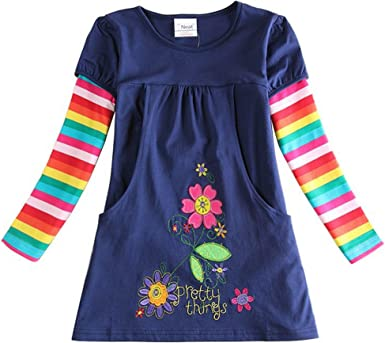 Jxs Neat Girl Long Sleeve Dress Flower Cotton Navy H5802 for 3 Year 8 Year 5T