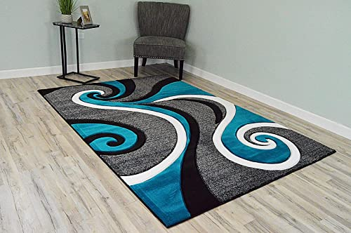 PlanetRugs Premium 3D Effect Hand Carved Thick Modern Contemporary Abstract Area Rug Design 327 Turquoise Blue 2'7''x4'