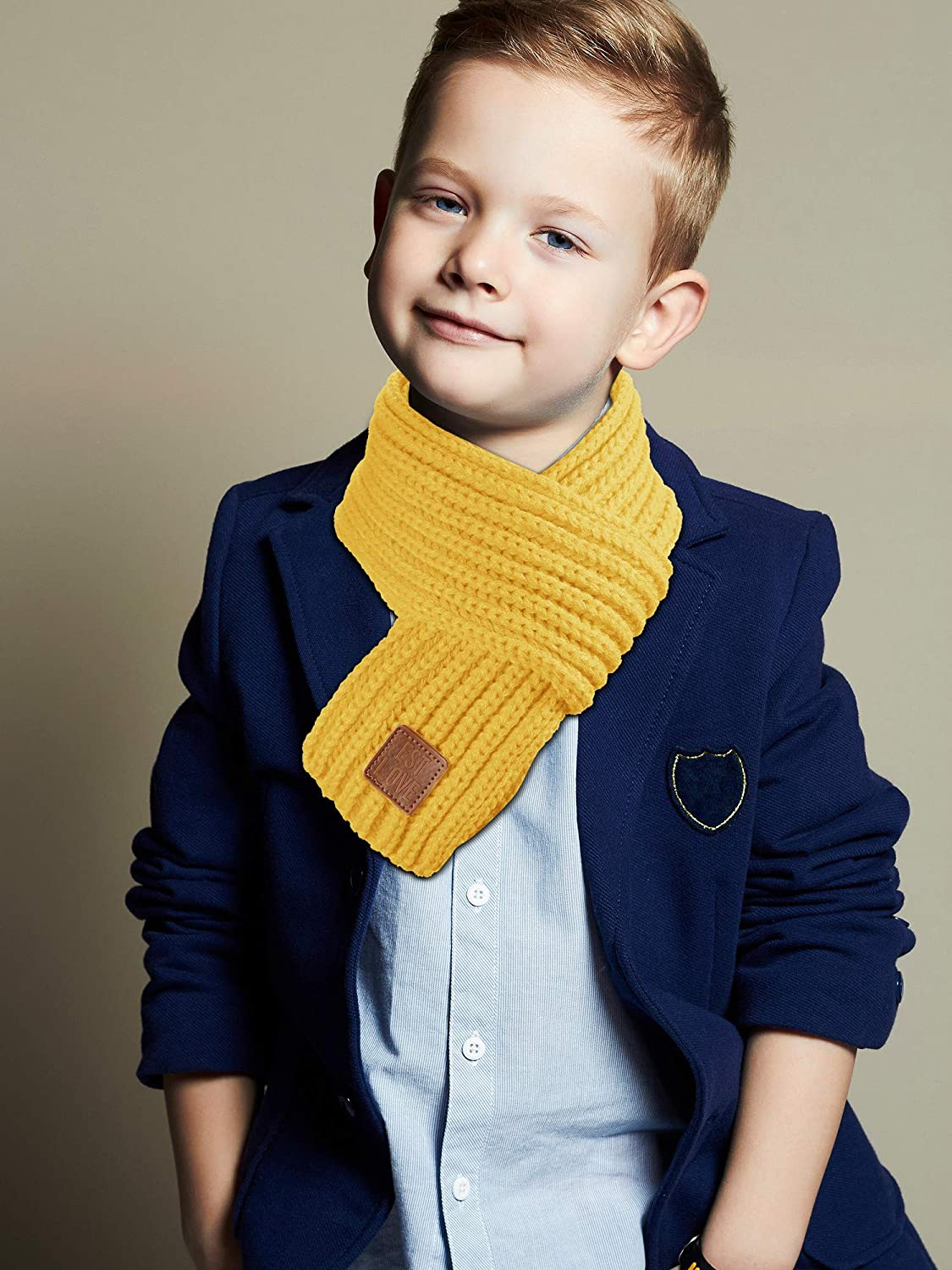 2 Pieces Kids Winter Warm Knit Scarves Warm Scarf Neck Warmer for Toddlers Boys Girls