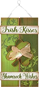 St. Patrick's Day Wooden Hanging Sign (Irish Kisses, Shamrock Wishes)