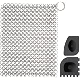 Empino 8x6 Stainless Steel Cast Iron Skillet Cleaner Chainmail Scrubber for Cast Iron Pan, Cast Iron Skillet, Pre-Seasoned Pan, Dutch Ovens, Waffle Iron and More - Pans & Iron Grill Scraper Include