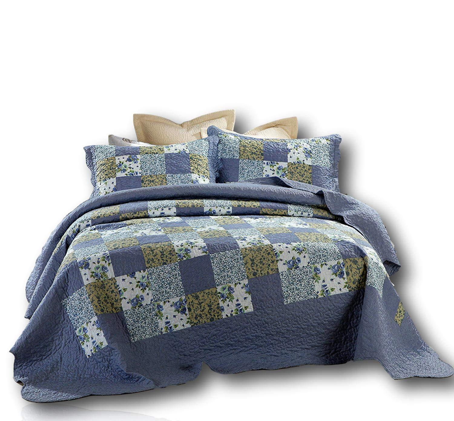 Dada Bedding Patchwork Bedspread Set - Blueberry Floral Plaid Checkered Quilted Coverlet - Twin - 2-Pieces