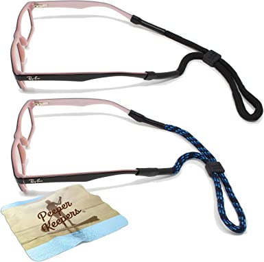 Peeper Keepers Twisted Leather Spectacle Neck Cord Non Slip Rubber Ends To Keep Your Glasses Secure BLACK