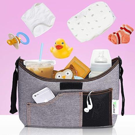 Amzdeal Organizador de Cochecito de Bebé con Gran Espacio para Pañales de Bebé,Botella y