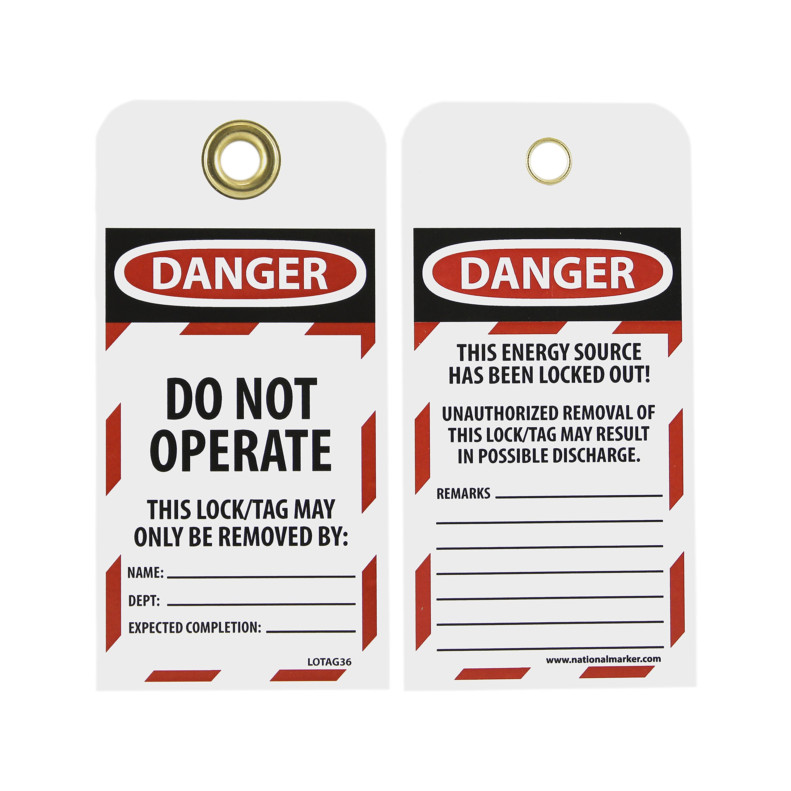 NMC LOTAG36-25 Lockout Tag, ''DANGER - DO NOT OPERATE,'' 6'' Height x 3'' Width, Unrippable Vinyl, Red/Black on White (Pack of 25) by NMC