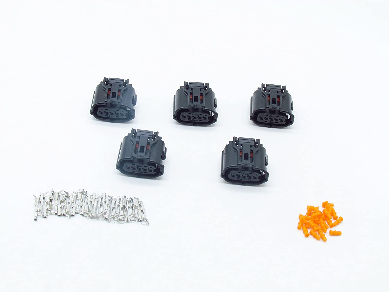 CNKF 5 Sets 5 pin way sumitomo TS series MAF sensor black female waterproof auto connector includes terminals and seals 6189-1046