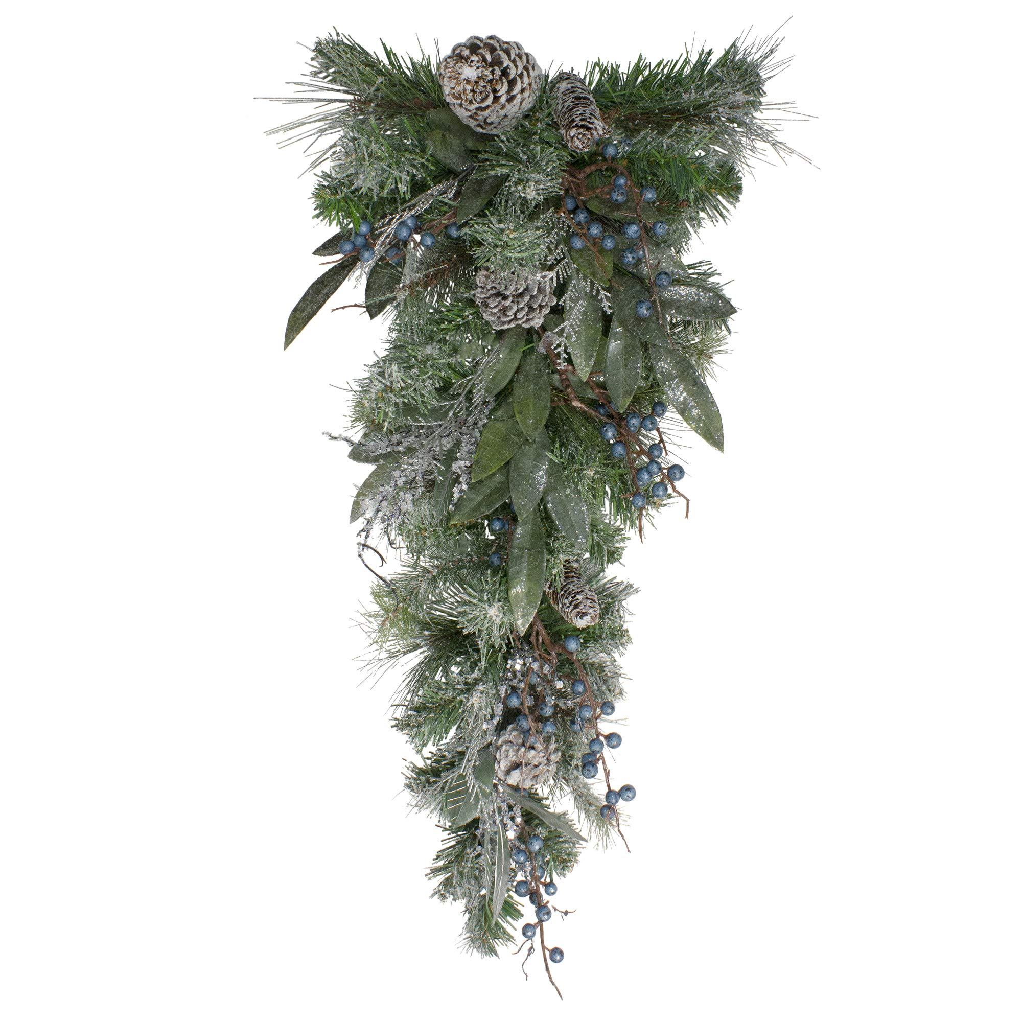 Northlight Mixed, Berries and Snowy Pine Cones Artificial Christmas Teardrop Swag -Unlit, 28'', Blue by Northlight