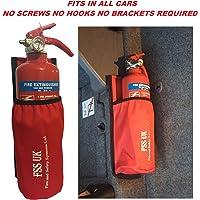 Auto Van Taxi Feuerlöscher mit Halterung. Benötigt keine Schrauben, keine Klammern und keine Haken. 1kg ABC Feuerlöscher mit Universal Auto Taxi Van Feuerlöscherhaltertasche mit Industrieklett an der Rückseite.