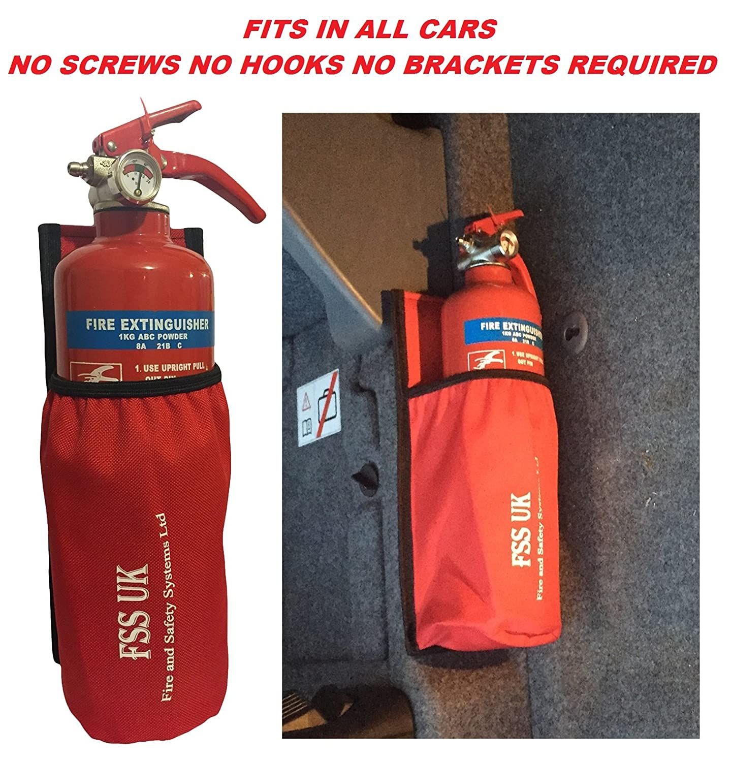 CAR VAN TAXI FIRE EXTINGUISHER. REQUIRES NO SCREWS NO BRACKETS NO HOOKS. 1 KG ABC DRY EXTINGUISHER WITH UNIVERSAL CAR TAXI VAN FIRE EXTINGUISHER HOLDER POUCH WITH HEAVY DUTY STICKY BACK. FSS UK